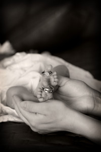 newborn, baby, feet, itty bitty, black and white, feet with rings